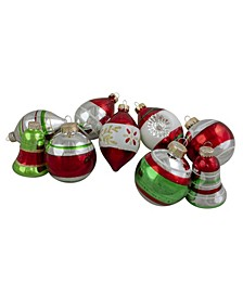 9 Count Striped-Finish Glass Christmas Ornaments