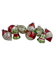 9 Count Finish Glass Christmas Finial Ornaments