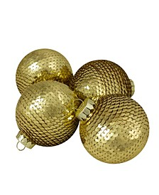 4 Count Gold Tone Sequin Shiny Christmas Ball Ornaments