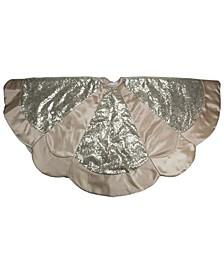 Golden Tone Sequined Scalloped Christmas Tree Skirt with Gold Sateen Trim