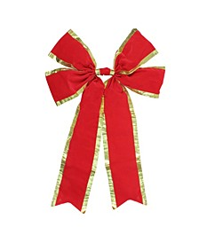 4-Loop Velveteen Christmas Bow with Trim