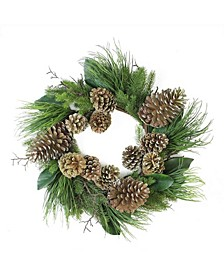 Mona Lisa Mixed Pine with Large Pine Cones and Foliage Christmas Wreath-Unlit