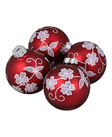 4 Count Floral Christmas Ball Ornaments