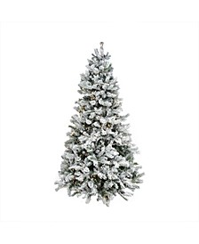 Pre-Lit Medium Flocked Victoria Pine Artificial Christmas Tree