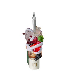 Santa Claus in Chimney Christmas Bubble Night Light