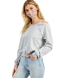 Juniors' Sweatshirt & Printed Face Mask