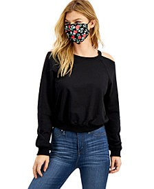 Juniors' Cold-Shoulder Sweatshirt & Printed Face Mask