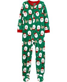 Little & Big Boys Footed Fleece Santa Pajamas