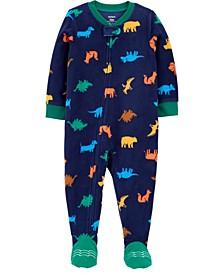 Toddler Boy 1-Piece Dinosaur Fleece Footie PJs