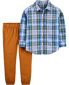 Toddler Boy 2-Piece Plaid Button-Front Shirt & Pant Set