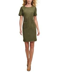 Faux-Suede Pocket Dress