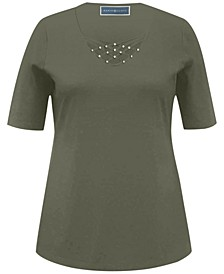Studded V-Neck Top, Created for Macy's