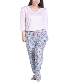 Plus Size Solid Long-Sleeve T-Shirt & Printed Pants Pajama Set