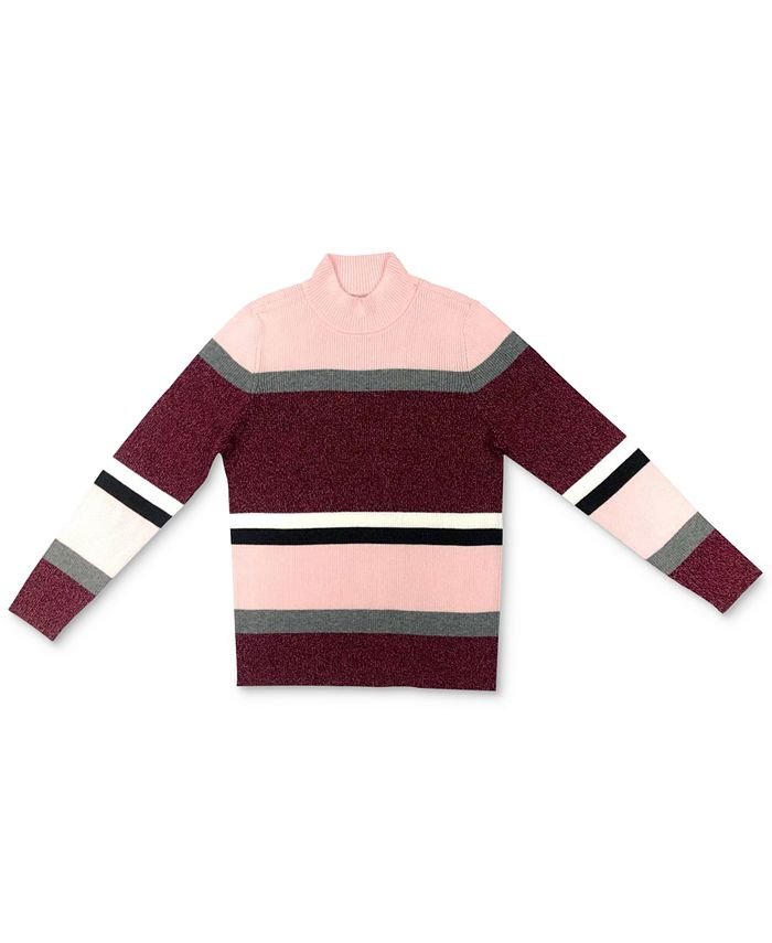 Karen Scott - Striped Cotton Turtleneck Sweater