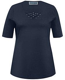 Karen Scott Plus Size Criss-Cross Top, Created for Macy's