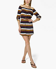 Ultra Flirt Juniors' Off-The-Shoulder Belted Shirtdress