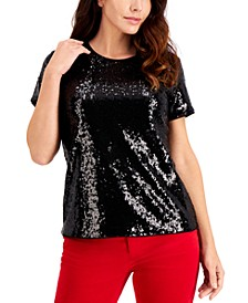Petite Sequinned Top, Created for Macy's