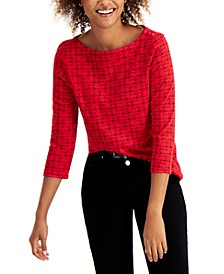 Cotton Printed 3/4-Sleeve Top, Created for Macy's