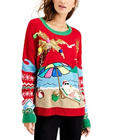 Juniors' Beach Santa Holiday Sweater