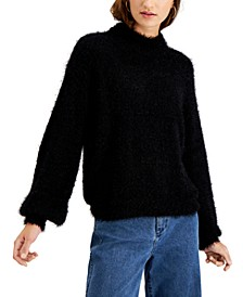 Juniors' Balloon-Sleeve Mock-Neck Sweater