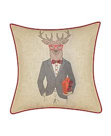 "Holiday Christmas Plaid Reindeer Boyfriend Decorative Pillow, 18"" x 18"""