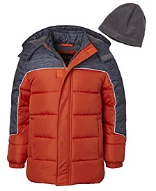 Little Boys Solid Contrast Puffer with Fleece Hat