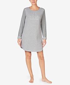 로렌 랄프로렌 더블 니트 슬립 셔츠 Lauren Ralph Lauren Striped Double-Knit Sleep Shirt,Hthr Stp