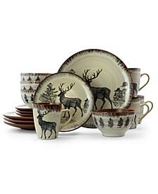 Majestic Elk 16 Piece Luxurious Stoneware Dinnerware Set