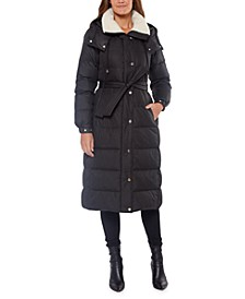Belted Fleece-Lined Hooded Down Coat