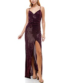Juniors' Long Faux-Wrap Sequin Dress