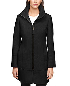 Calvin Klein Faux-Leather-Trim Coat, Created for Macy's