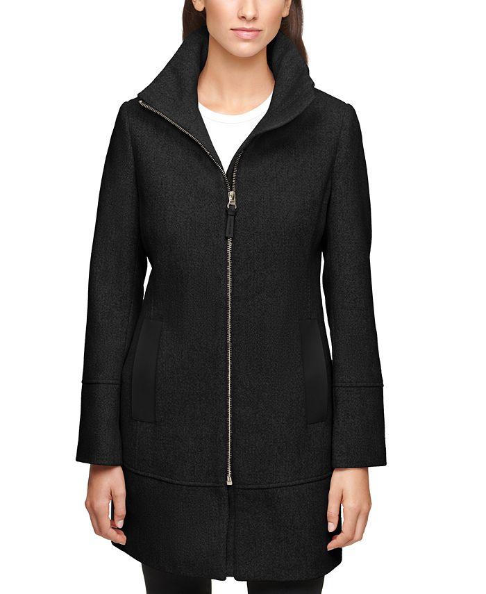 Calvin Klein - Faux-Leather-Trim Coat