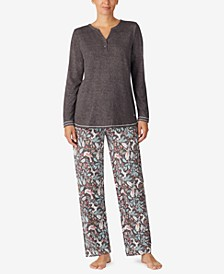 Solid Henley Top & Printed Pants Pajama Set