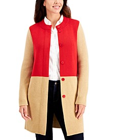 Cotton Colorblocked Long Button Cardigan, Created for Macy's