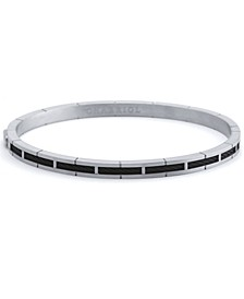 Cable Inlay Bangle Bracelet in Stainless Steel & Black PVD