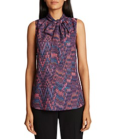 Tie-Neck Printed Top