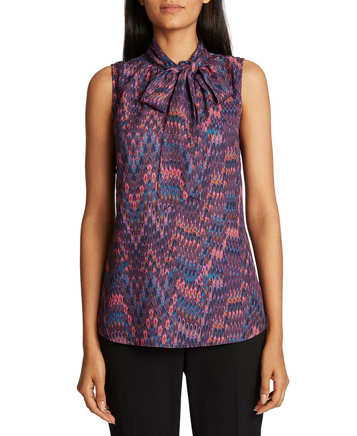 Tahari ASL - Tie-Neck Printed Top