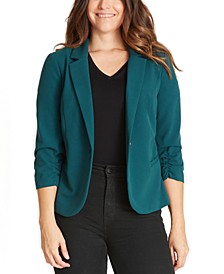 Juniors' Ruched-Sleeve Blazer