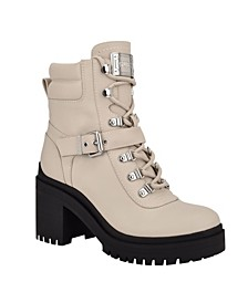 Women's Canaly Lug Sole Block Heel Combat Boots