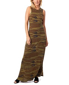 Eco-Jersey Printed Side Slit Women's Maxi Tank Dress