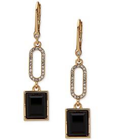 Gold-Tone Pavé Link & Stone Double Drop Earrings