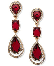 Gold-Tone Stone & Crystal Linear Clip-On Drop Earrings