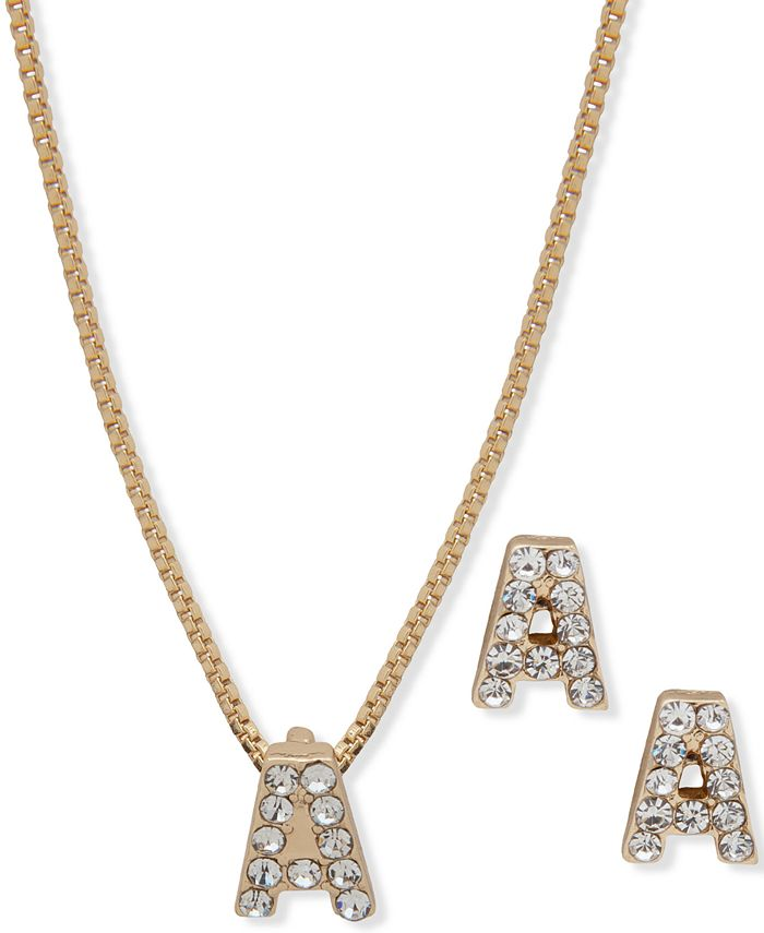 Anne Klein - 2-Pc. Set Gold-Tone Crystal Initial Pendant Necklace & Matching Stud Earrings
