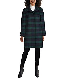 Single-Breasted Plaid Coat