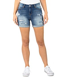 Juniors' Destructed Denim Midi Shorts