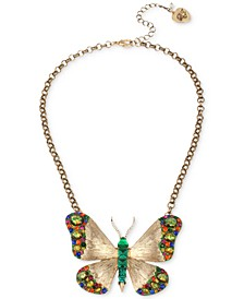 "Gold-Tone Multicolor Crystal Butterfly Pendant Necklace, 16"" + 3"" extender"