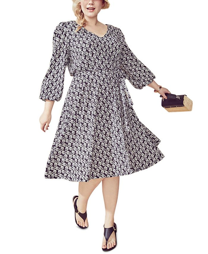 Calvin Klein - Plus Size Floral-Print A-Line Dress