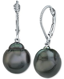 Cultured Black Tahitian Baroque Pearl (11mm) Drop Earrings In 14k White Gold