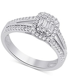 Diamond Emerald-Cut Cluster Halo Ring (1/2 ct. t.w.) in 14k White Gold