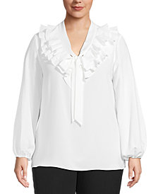 Kasper Plus Ruffle-Front Top